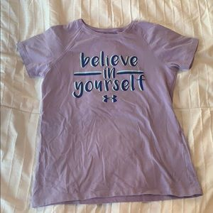 "Girls under armour ""believe in yourself"" t-shirt"